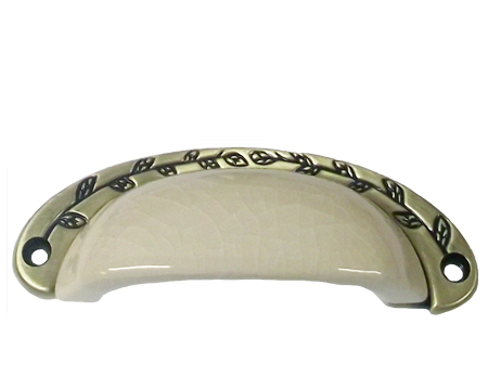 CHATSWORTH CREAM CRACKLE PORCELAIN OXFORD 'CUP HANDLE' (MULTIPLE FINISHES) - BUL804-CRM-JCK
