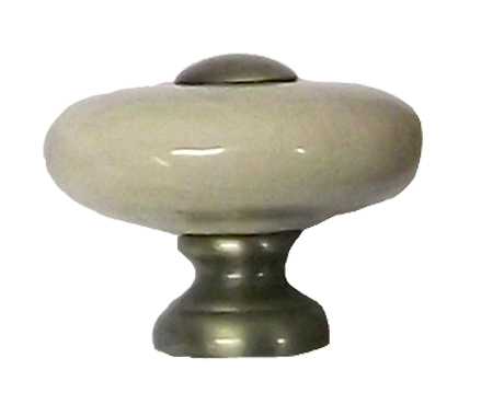 CHATSWORTH CREAM CRACKLE PORCELAIN OXFORD 'DONUT KNOB' (MULTIPLE FINISHES) - BUL805-CRM-JCK