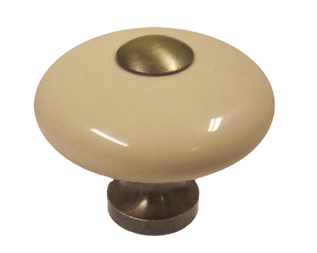 Chatsworth Cream Porcelain Oxford 'Donut Knob' (Multiple Finishes) - BUL805-CRM