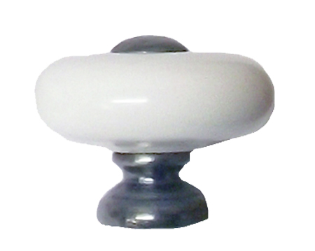 Chatsworth White Porcelain Oxford 'Donut Knob' (Multiple Finishes) - BUL805-WHI