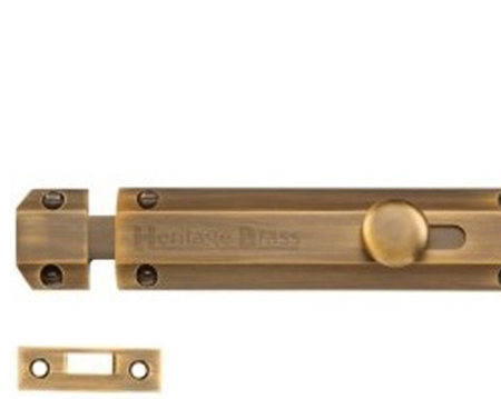 Heritage Brass Flat Surface Door Bolt (4 - Flush Bolts, Barrel Bolts And Door Bolts From Door Handle Company