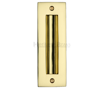 Heritage Brass Flush Pull Handle (102mm OR 152mm), Polished Brass - C1820-PB