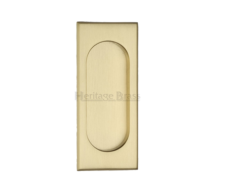 Heritage Brass Flush Pull Handle (105mm), Satin Brass - C1850-SB