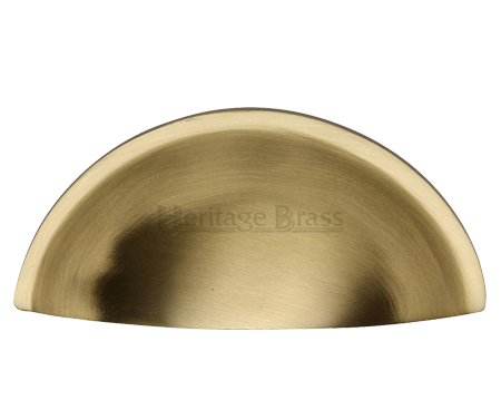 Heritage Brass Cabinet Drawer Pull Handle (57mm C/C), Satin Brass - C2760-SB