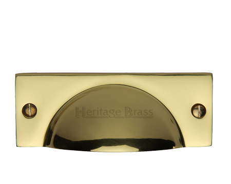 Heritage Brass Cabinet Drawer Pull Handle (112mm Length), Polished Brass - C2762-PB