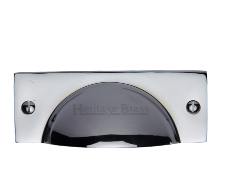 Heritage Brass Cabinet Drawer Pull Handle (112mm Length), Polished Chrome - C2762-PC