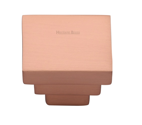 Heritage Brass Square Stepped Cabinet Knob, Satin Rose Gold - C3672 32-SRG None