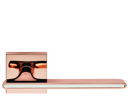 Carlisle Brass Cebi Zara Door Handles On Square Rose, Copper With White Inlay - CEB060QCOP/WHT (sold in pairs)