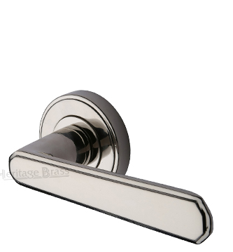 Heritage Brass 'Century' Art Deco Style Door Handles On Round Rose, Polished Nickel - CEN1924-PNF (sold in pairs)