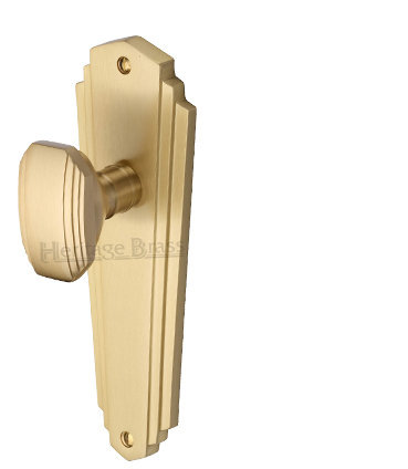 Heritage Brass 'Charlston' Art Deco Style Door Knobs On Backplate, Satin Brass - CHA1900-SB (sold in pairs)