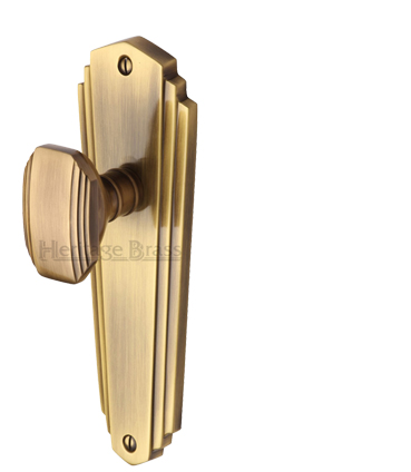 Heritage Brass 'Charlston' Art Deco Style Door Knobs On Backplate, Antique Brass - CHA1900-AT (sold in pairs)