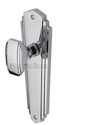 Heritage Brass 'Charlston' Art Deco Style Door Knobs On Backplate, Polished Chrome - CHA1900-PC (sold in pairs)