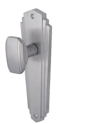 Heritage Brass 'Charlston' Art Deco Style Door Knobs On Backplate, Satin Chrome - CHA1900-SC (sold in pairs)