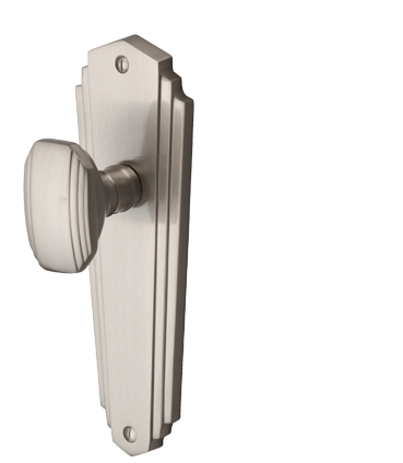 Heritage Brass 'Charlston' Art Deco Style Door Knobs On Backplate, Satin Nickel - CHA1900-SN (sold in pairs)