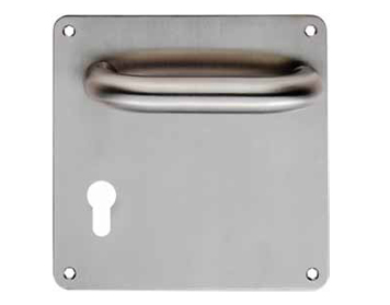 Eurospec DDA Compliant Safety Lever On Euro Profile Backplate - Satin Stainless Steel - CSL1220BPY (sold in pairs)