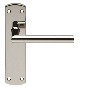 Eurospec Mitred Stainless Steel Door Handles On Backplates, Polished Stainless Steel - CSLP1162BSS (sold in pairs)
