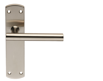 Eurospec T-Bar Stainless Steel Door Handles On Backplates, Satin Stainless Steel - CSLP1164SSS (sold in pairs)