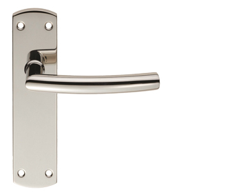 Eurospec Arched Stainless Steel Door Handles On Backplates, Polished Stainless Steel - CSLP1167BSS (sold in pairs)