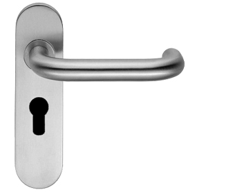 STAINLESS STEEL DOOR HANDLES ON PLATES,POLISHED OR SATIN FINISH-RADIUS SAFETY LEVER CSLP1190 (sold in pairs)