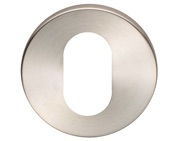 Eurospec Oval Profile Stainless Steel Escutcheons (6mm Rose), Satin Stainless Steel - CSU1006SSS