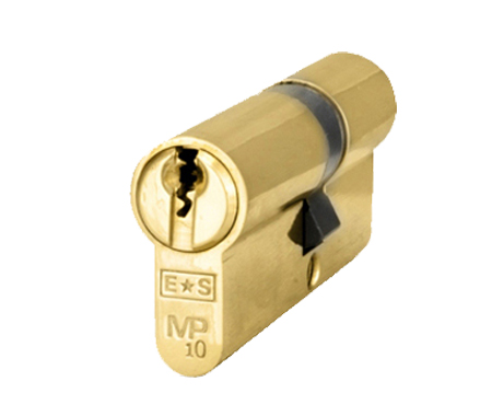 Eurospec MP10 Euro Profile British Standard 10 Pin 'Offset' Double Cylinders, (Various Sizes) Polished Brass - CYH712PB/OFF