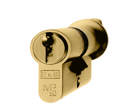 Eurospec MP10 Euro Profile British Standard 10 Pin Cylinders And Turn, (Various Sizes) Polished Brass - CYH713PB/OFF