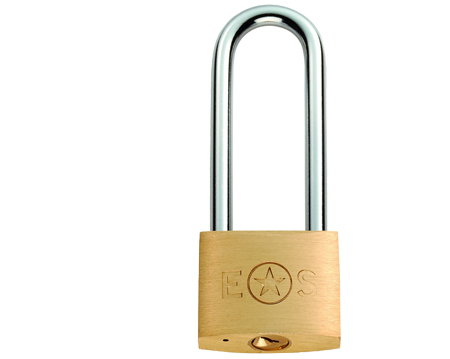 Eurospec Long Shackle Brass Padlock, 38mm or 50mm (Keyed To Differ) - CYPL1041SB/BP