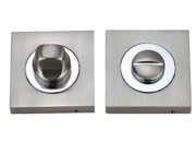 Darcel Bathroom Square Thumb Turn & Release, Dual Finish Satin Nickel & Polished Chrome - DCWCSTT-SNCP
