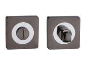 Darcel Square Bathroom Thumb Turn & Release, Dual Finish Black Nickel & Polished Chrome - DCWCTT-BNCP