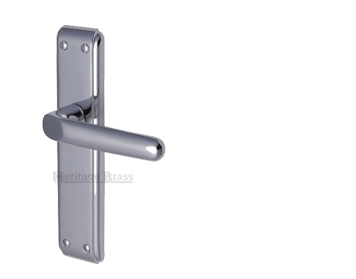 Heritage Brass 'Deco' Door Handles On Backplate, Polished Chrome - DEC3000-PC (sold in pairs)