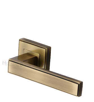 Heritage Brass 'Linear' Antique Brass Art Deco Style Door Handles On Square Rose - DEC5430-AT (sold in pairs)