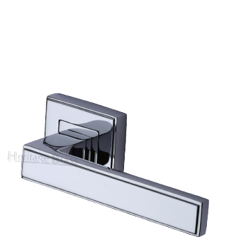 Heritage Brass 'Linear' Polished Chrome Art Deco Style Door Handles On Square Rose - DEC5430-PC (sold in pairs)