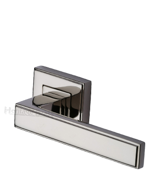 Heritage Brass 'Linear' Polished Nickel Art Deco Style Door Handles On Square Rose - DEC5430-PNF (sold in pairs)