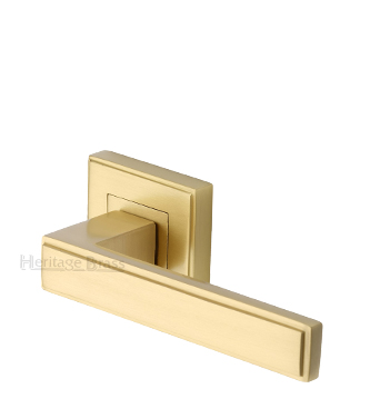 Heritage Brass 'Linear' Satin Brass Art Deco Style Door Handles On Square Rose - DEC5430-SB (sold in pairs)