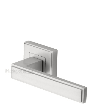Heritage Brass 'Linear' Satin Nickel Art Deco Style Door Handles On Square Rose - DEC5430-SN (sold in pairs)