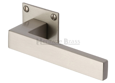 Heritage Brass U0027Delta Low Profileu0027 Satin Nickel Door Handles On Square Rose    BAU1928