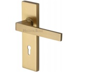 Heritage Brass Delta Door Handles On Backplate, Satin Brass - DEL6000-SB (sold in pairs)