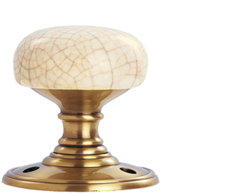 Delamain Ivory Crackle Glaze Porcelain Door Knobs, Florentine Bronze - DK34ICFB (sold in pairs)