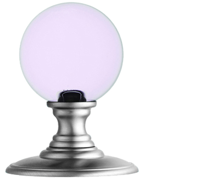 DELAMAIN 'CLEAR PINK' CRYSTAL BALL MORTICE DOOR KNOBS, SATIN CHROME  - DK52CPSC