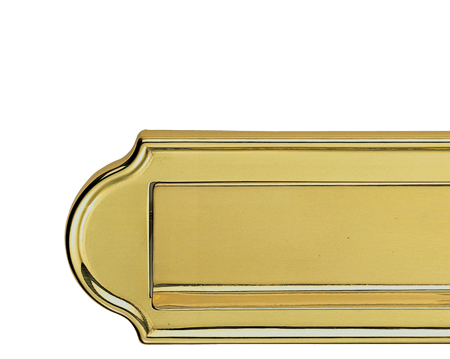 ASHTEAD LETTER PLATE (GRAVITY FLAP), POLISHED BRASS - DL19PB