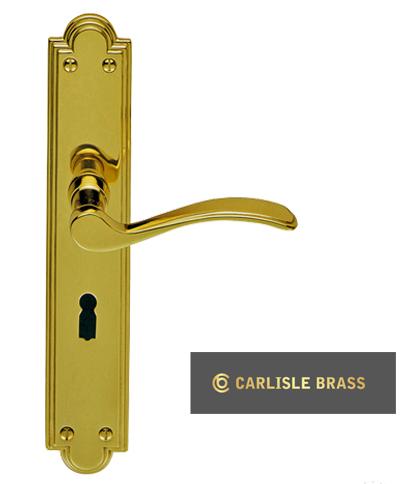 Seville Long Plates Polished Brass Door Handles