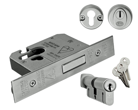 'Insurance Rated' (Complete Set) BS Euro Profile Cylinder Deadlocks - SILVER OR BRASS FINISH - EDB50