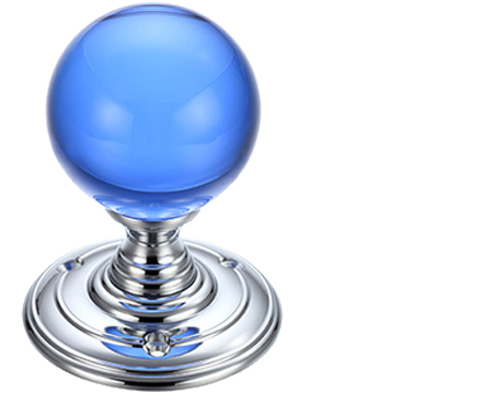 Blue Glass Ball Mortice Door Knobs, Polished Chrome - FB300CPB (sold in pairs)