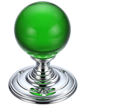 Green Glass Ball Mortice Door Knobs, Polished Chrome - FB300CPG (sold in pairs)