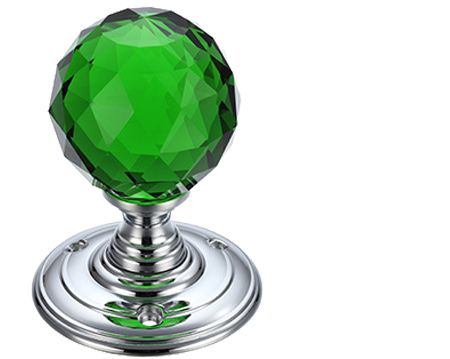 Green Facetted Glass Mortice Door Knobs, Polished Chrome - FB301CPG (sold in pairs)