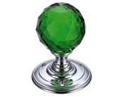 Zoo Hardware Fulton & Bray Facetted Green Glass Ball Mortice Door Knobs, Polished Chrome - FB301CPG (sold in pairs)