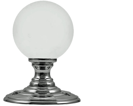 Frosted Glass Ball Mortice Door Knobs, Polished Chrome - FB302 (sold in pairs)