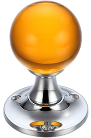 Amber Glass Mortice Door Knobs, Polished Chrome - FB400CPA (sold in ...