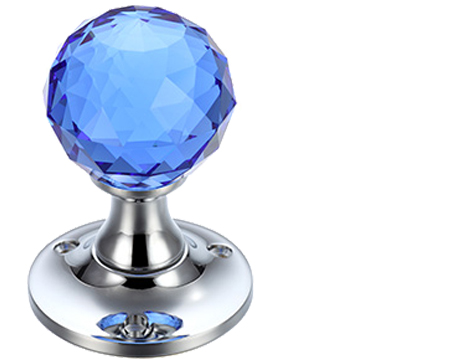 Blue Facetted Glass Mortice Door Knobs, Polished Chrome - FB401CPB (sold in pairs)