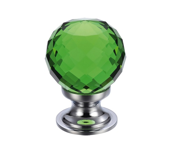 Zoo Hardware Fulton & Bray Green Facetted Glass Ball Cupboard Knobs (25mm Or 30mm), Polished Chrome Base - FCH03CPG None